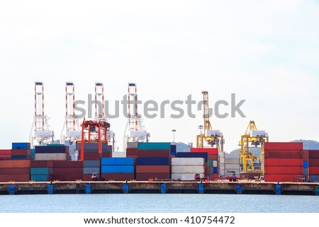 Big Industrial Port using as freight transport and global business - stock photo