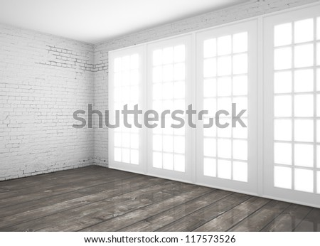 big  interior with wooden floor - stock photo