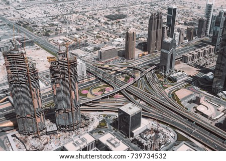 Big intersection of highways in Dubai view from above