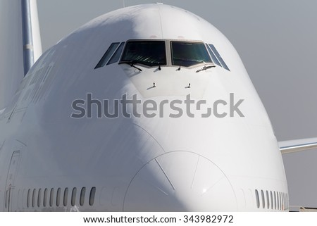 Big jet airplane parked at the gate - stock photo