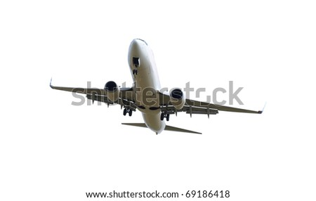 Big jet plane isolated on white background - stock photo