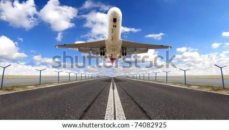Big jet plane taking off runway - stock photo