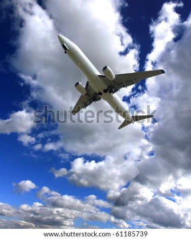 Big jet plane with perfect sky background