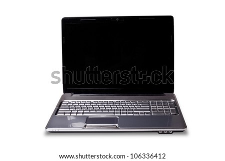 big laptop with black screen isolated on white background, put your own picture inside - stock photo