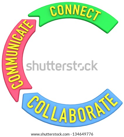 Big letter C to start words about collaboration connection communication - stock photo