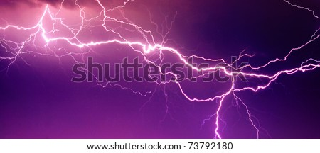 Big lightning on the sky - stock photo