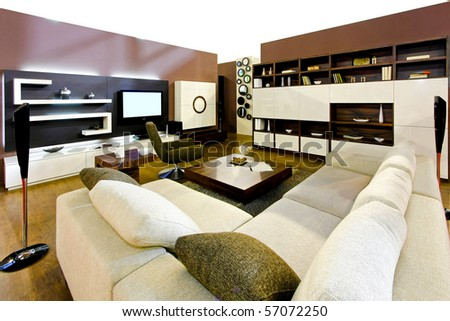 Big living room in modern decorated apartment - stock photo