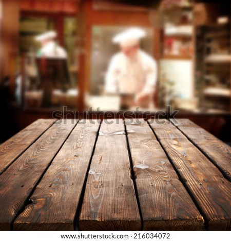 big long table of brown and restaurant  - stock photo