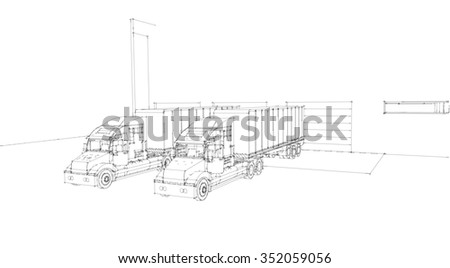 Big lorry delivery truck. X-ray.Near about garage storage, warehouses Isolated sketch 3d render on wight  background