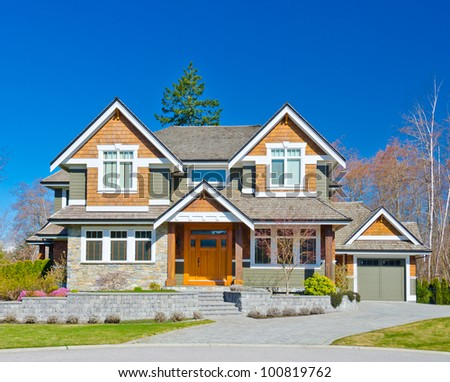 Big luxury  home  in the suburbs of North America - stock photo