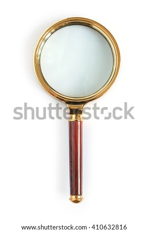 Big magnifying glass isolated on a white background - stock photo
