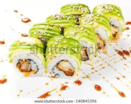 Big maki sushi. roll green dragon - stock photo
