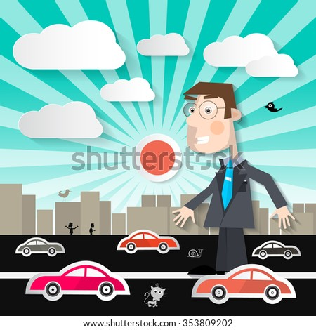 Big Man in the City - Businessman Walking on Street with Cars in Town Illustration