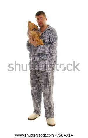 Big man with little teddy-bear on his hands - stock photo
