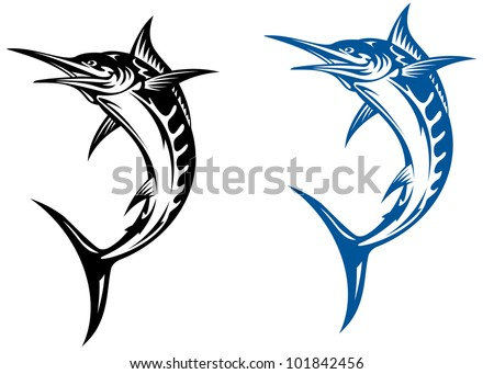Big marlin fish isolated on white background i for mascot design, such logo. Vector version also available in gallery - stock photo