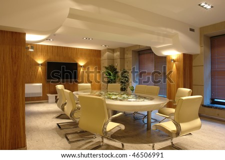big meeting room in bright office - stock photo