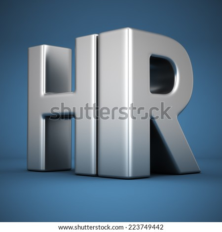Big metal letters HR on blue background. Human resources department - stock photo