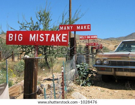Big Mistake..Many Make..Rely on Horn..Instead of..Break - stock photo