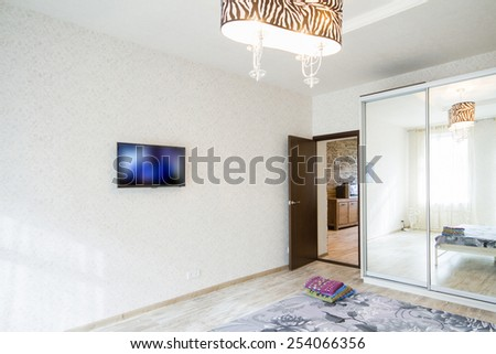 Big modern Bedroom in white tone - stock photo
