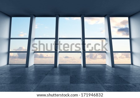 big modern sunlight hall and window - stock photo