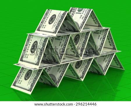 Big money stack from dollars usa. Finance pyramid