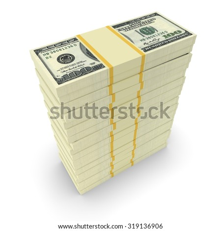 Big money stacks from dollars. Finance conceptual  - stock photo