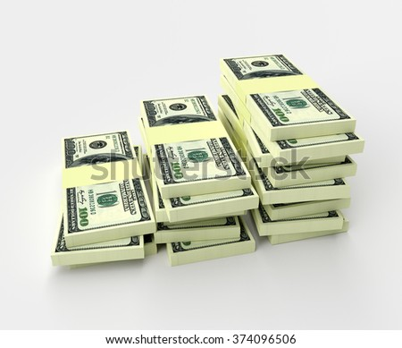 Big money stacks from dollars isolated on white. Finance conceptual  - stock photo