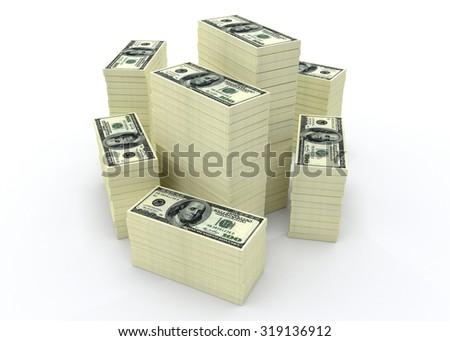 Big money stacks from dollars usa. Finance conceptual  - stock photo