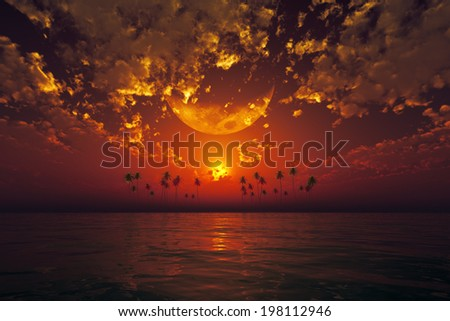 big moon in clouds over red sunset at tropical sea. Elements of this image furnished by NASA - stock photo