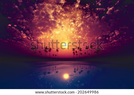 big moon over purple sunset at tropical sea with clouds - stock photo