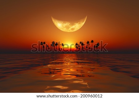 big moon over red sunset at tropical sea. Elements of this image furnished by NASA  - stock photo