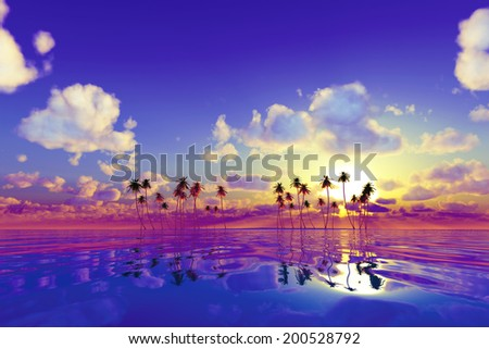 big moon over yellow sunset at tropical sea with stars. - stock photo
