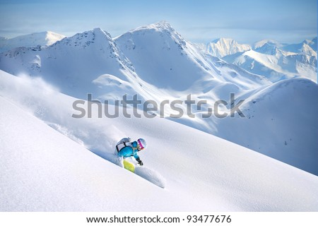 Big Mountain Skiing - stock photo