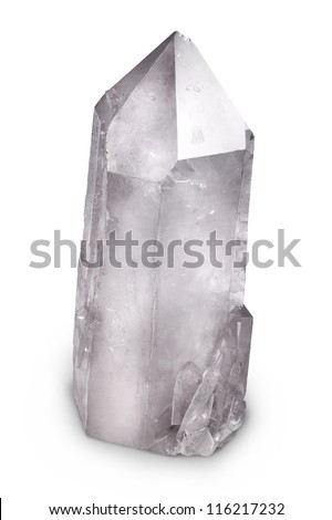 Big Natural Quartz Berg Crystal Isolated on White - stock photo