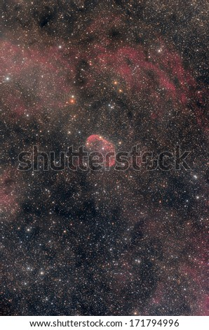 Big nebulosity in the heart of the Milky Way. - stock photo