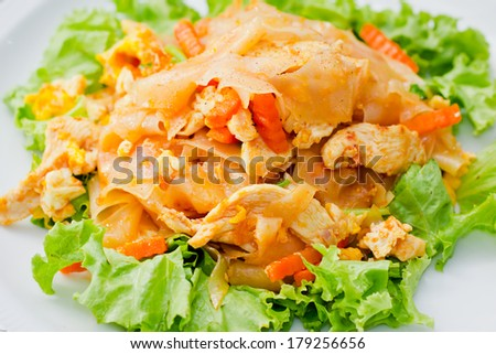 Big noodles Fried with Chicken - stock photo