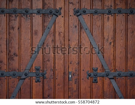 big old oak wood door with nice decorative fitting black painted brown paint & Big Old Oak Wood Door Nice Stock Photo (Safe to Use) (Royalty Free ...