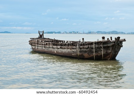 Big old wood boats on the sea - stock photo
