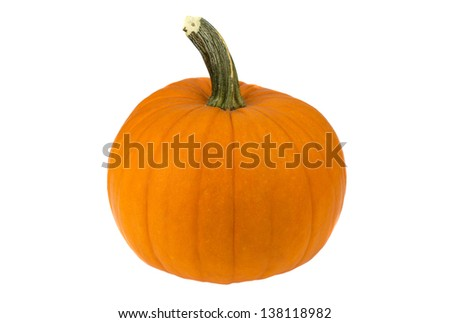 big orange pumpkin isolated on white background; copy space for your text - stock photo