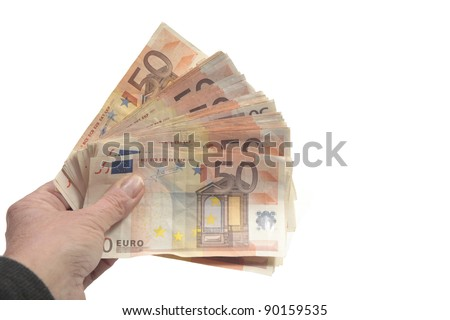 Big pack of fifty euro bills in hand - stock photo