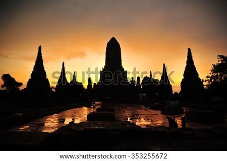 Big Pagoda in Historical Park Thailand - stock photo