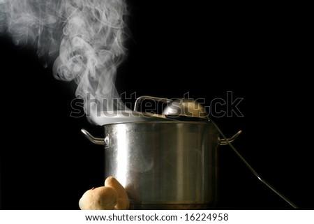 big pan and smoke - stock photo