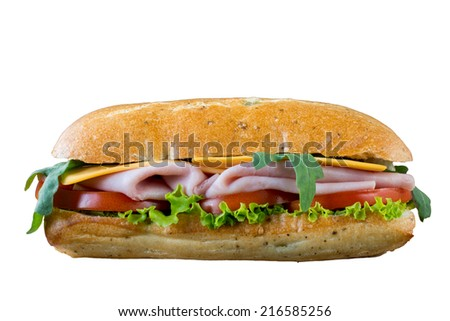 Big panini sandwich with ham and cheese isolated on white background