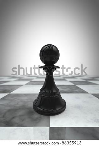 Big pawn black - stock photo