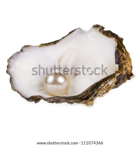 Big pearl in an oyster shell, isolated on a white background . - stock photo