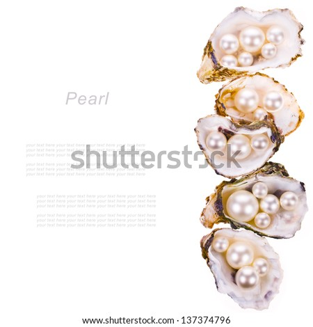 Big pearls and small pearls in an oyster shells   isolated on a white background . - stock photo