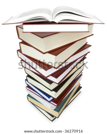big pile of books isolated on white. education concept