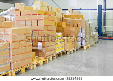Big pile of box package in warehouse