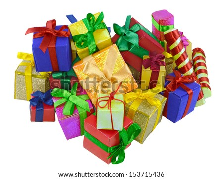 Big pile of colorful small gifts isolated - stock photo