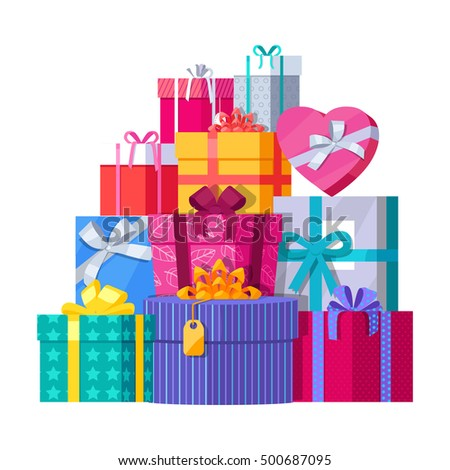 Big pile colorful wrapped gift boxes 500687095 big pile of colorful wrapped gift boxes mountain gifts beautiful present box with overwhelming negle Images